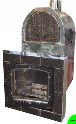 Печь для бани Калита арочная (облицовка талькохлорит) с дверкой с кованной отделкой