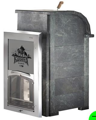 Печь для бани Князь-Калита (облицовка талькохлорит) с дверкой вертикального открывания