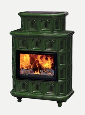 """Печь-камин Эльзас с изразцовой облицовкой """"Арка"""" зеленая на ножках"""