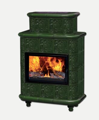 """Печь-камин Эльзас с изразцовой облицовкой """"Барокко""""зеленая на ножках"""