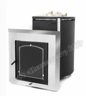 Печь для бани Чародейка-микро в металлическом кожухе-конвекторе с выносным топочным тоннелем