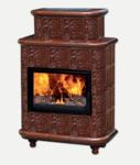 """Печь-камин Эльзас с изразцовой облицовкой """"Барокко"""" коричневая на ножках"""